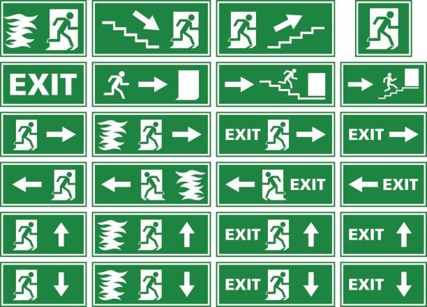 ilustraciones, imágenes clip art, dibujos animados e iconos de stock de vector conjunto de símbolo - señal de salida de emergencia / fuego alarma placa - despedida