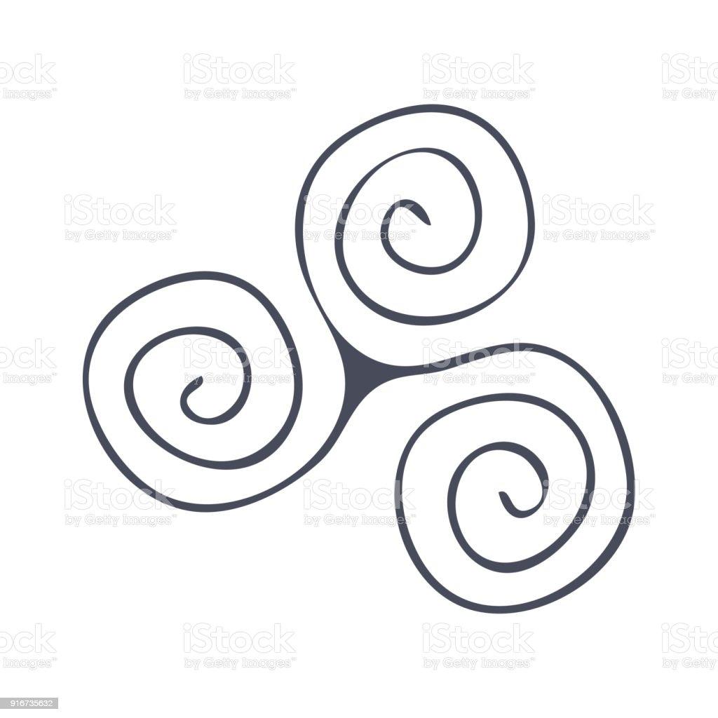 Symbole de vecteur: la triade, Triskèle, Triskele ou Celtic Triple spirale. Spirale du symbole de la vie. - Illustration vectorielle