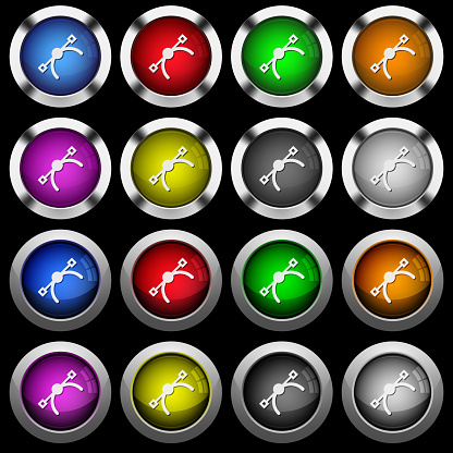 Vector symbol white icons in round glossy buttons on black background