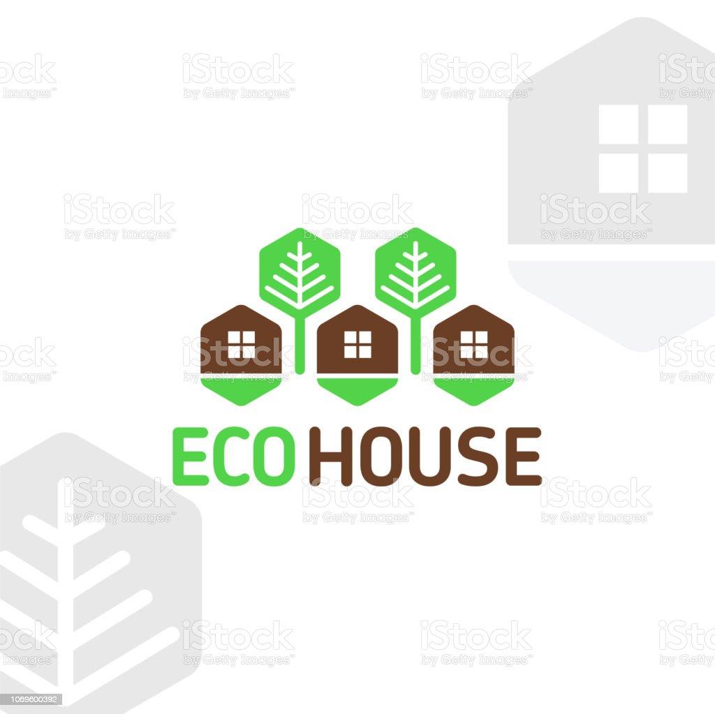 Vector símbolo eco madera casa elementos modulares panales descansan árboles del bosque natural - ilustración de arte vectorial