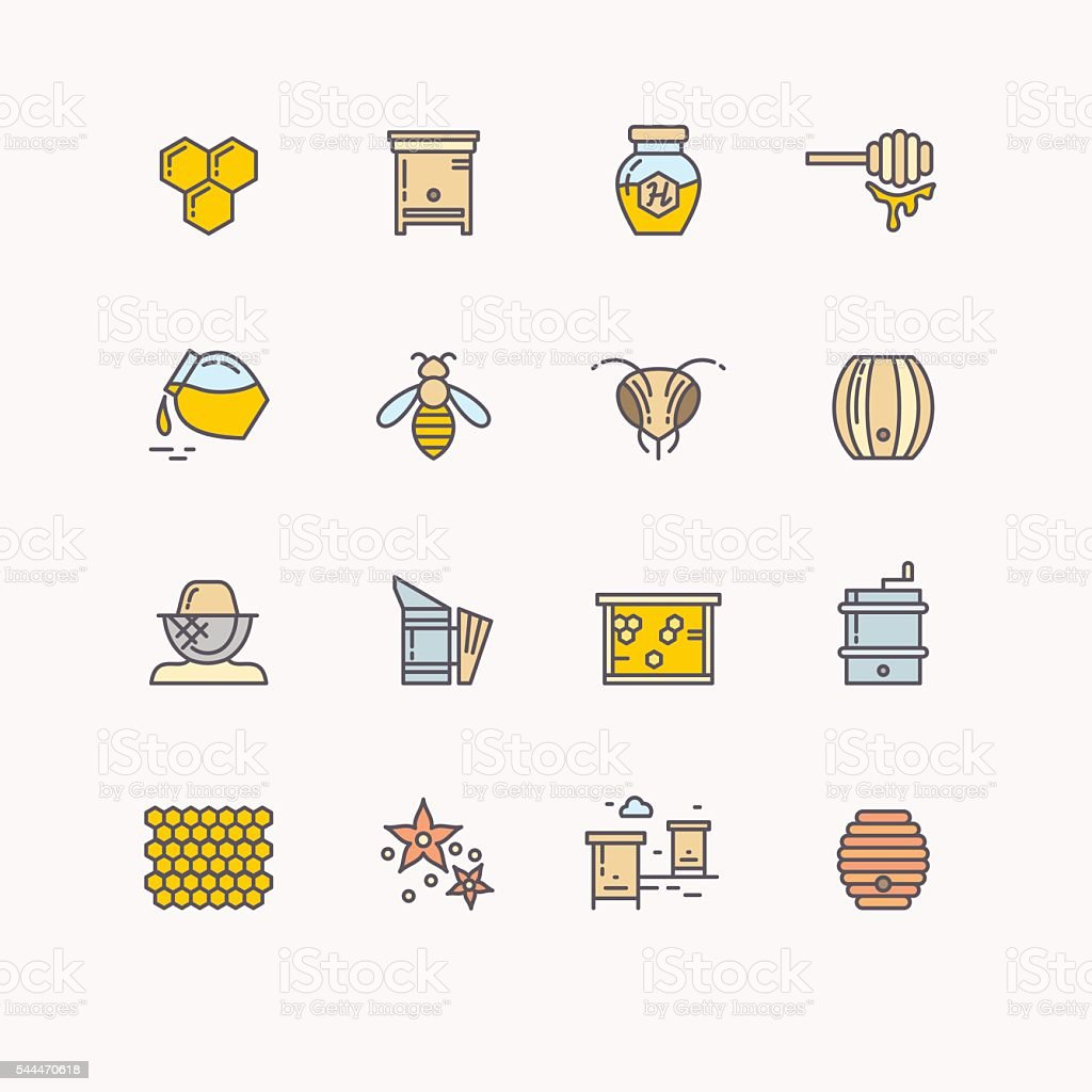 Vector symbols of bee honey and bee products. vector art illustration