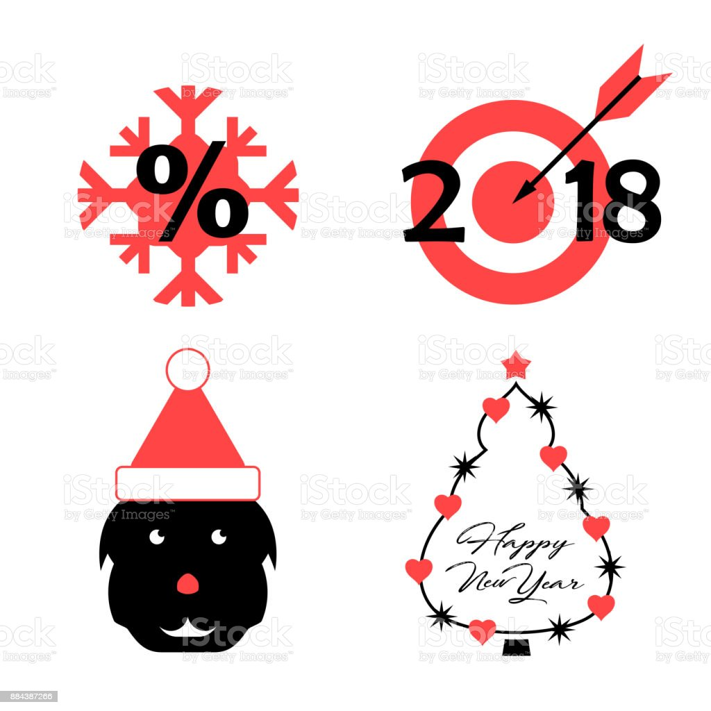 Vector Symbols Of The Upcoming 2018 Year Of The Dog Snowflake Target ...