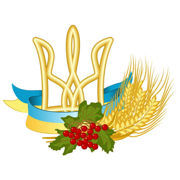 Vector symbols of Ukraine: Tryzub (Trident is the coat of arms of Ukraine), National flag, Kalyna (viburnum) and wheat vector art illustration