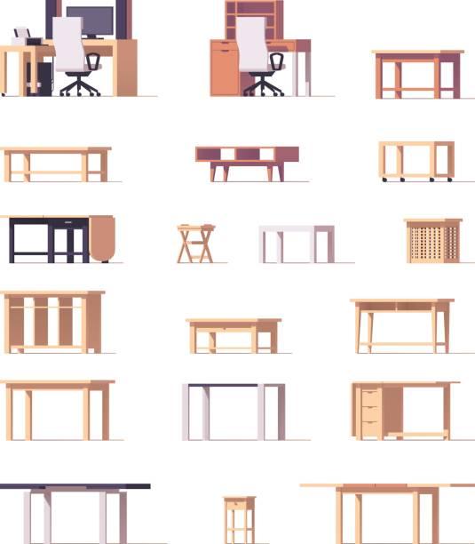 ilustrações de stock, clip art, desenhos animados e ícones de vector table set - coffee table