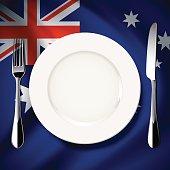Vector table setting on Australia flag background