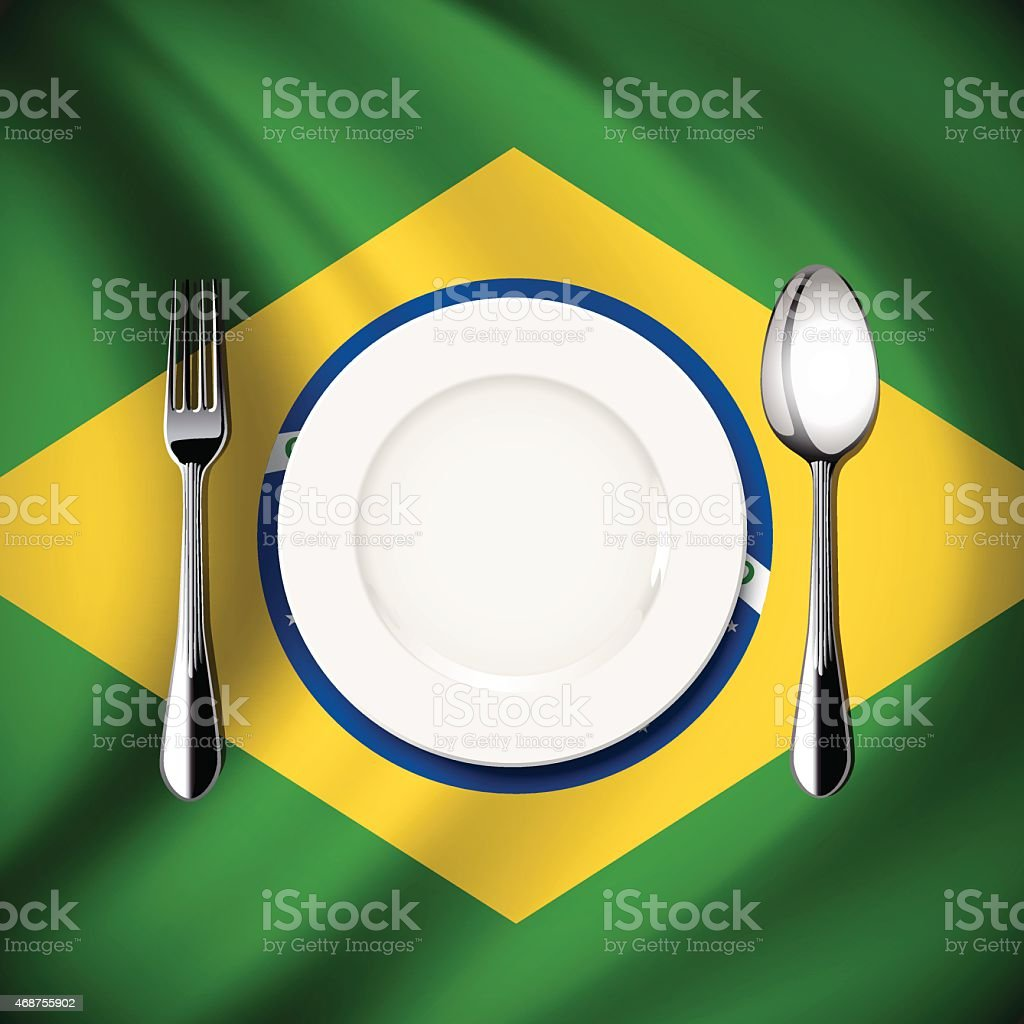 Vector  table setting on Brazil flag background