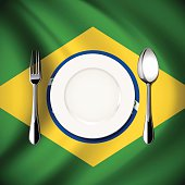 Vector  table setting on Brazil flag background