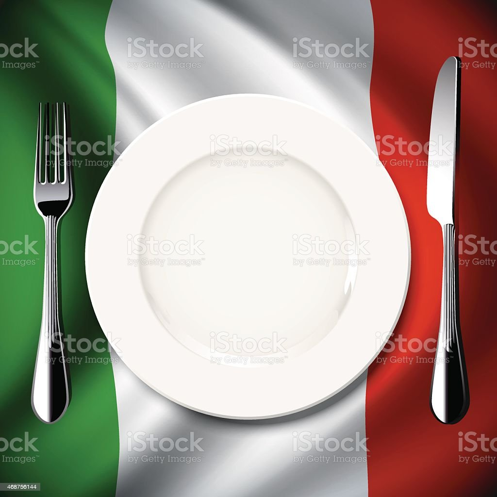 Vector  table setting on Italy flag background