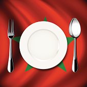 Vector  table setting on Morocco flag background