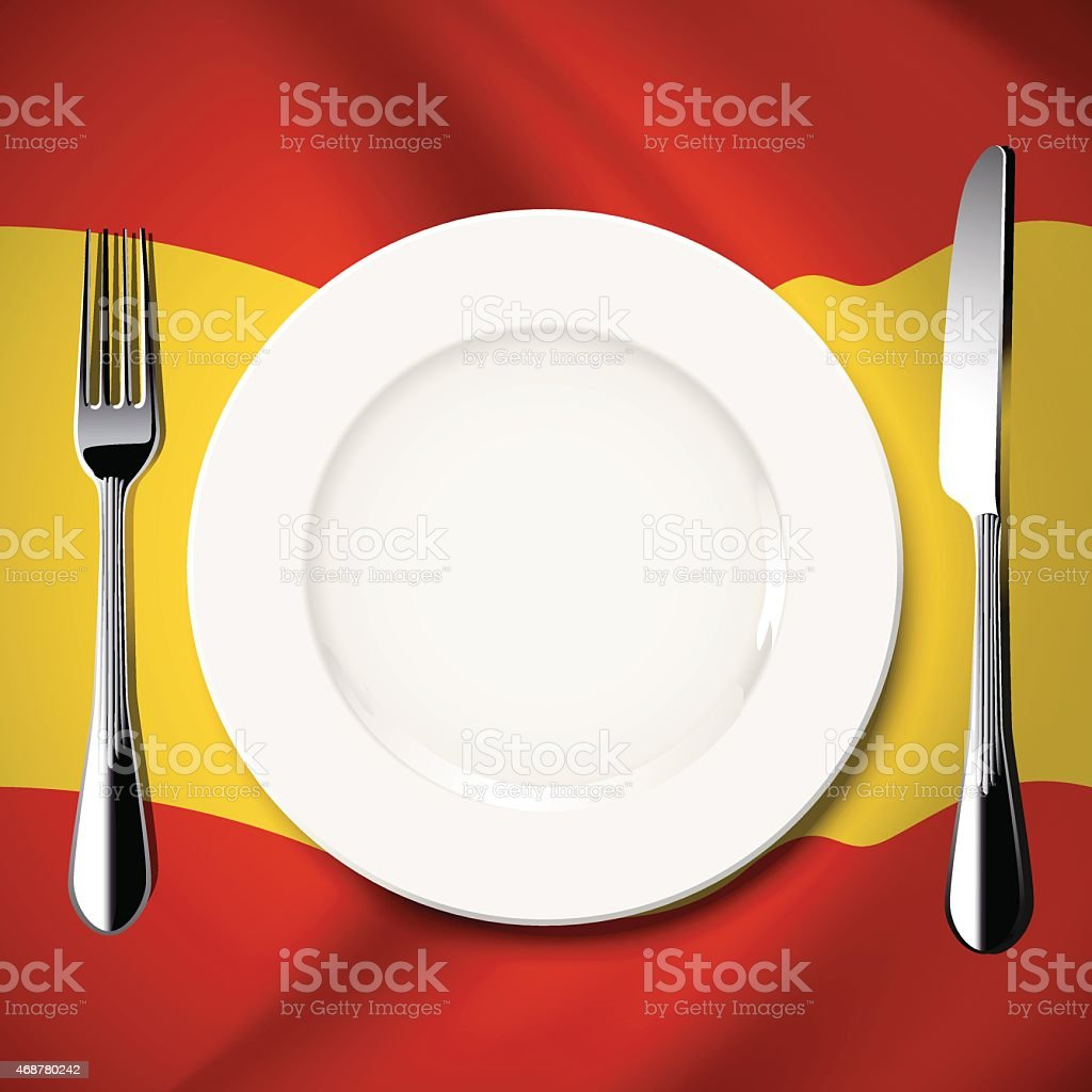 Vector  table setting on Spain flag background