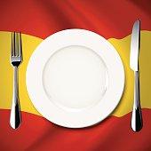 Vector  table setting on Spain flag background