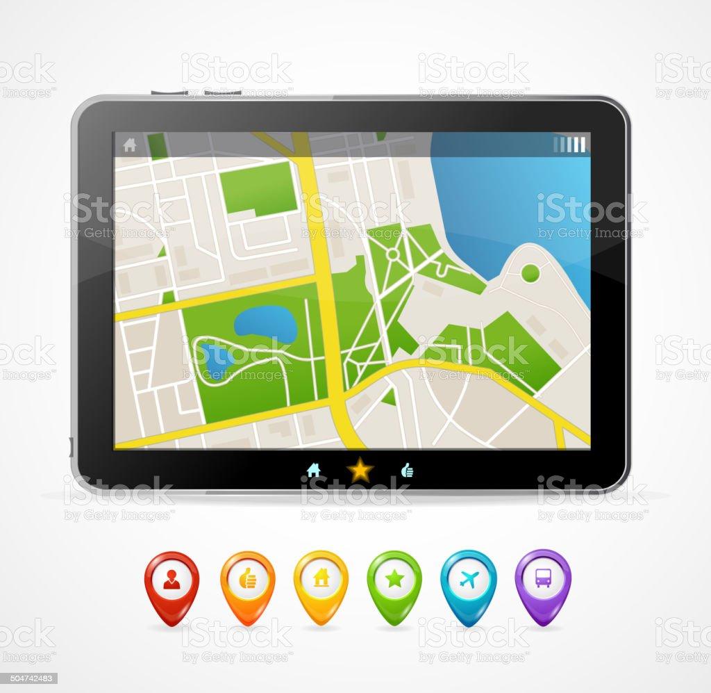 Vector tablet map navigation set. infographics vector art illustration