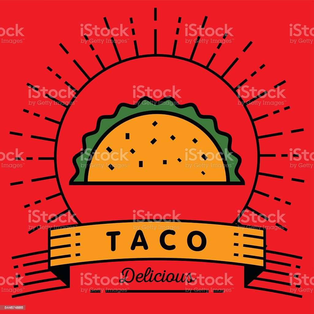 Vector Taco Icon with Linear Style vector art illustration