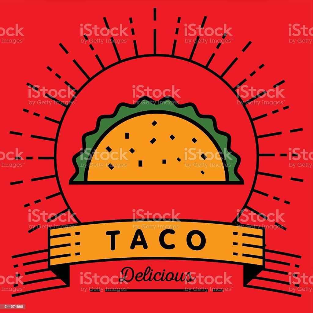 Vector de icono de tacos con estilo lineal - ilustración de arte vectorial