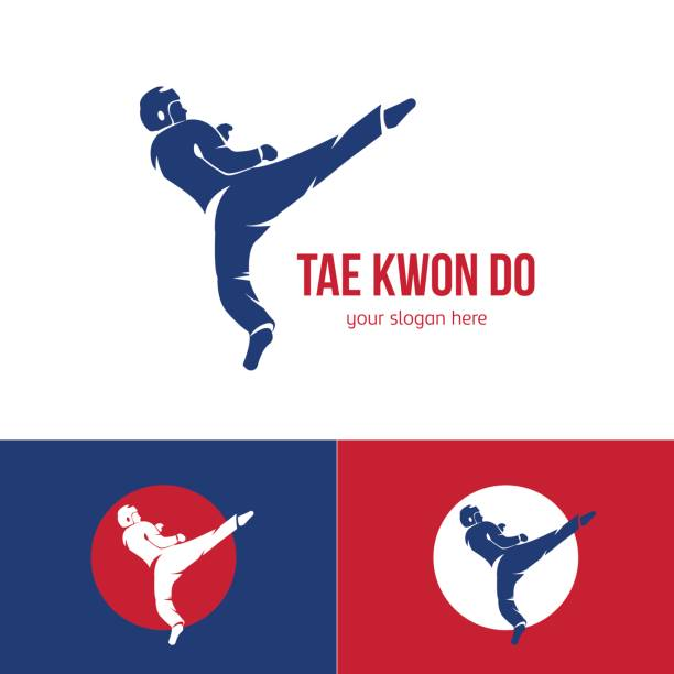 vector taekwondo logo template. martial arts badge. - taekwondo stock illustrations, clip art, cartoons, & icons