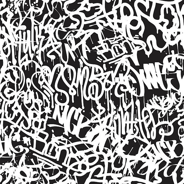 Vector tags seamless pattern Vector tags seamless pattern. Fashion graffiti hand drawing texture, street art retro style, abstract, vintage design for t-shirt, textile, wrapping paper in black, white alphabet backgrounds stock illustrations