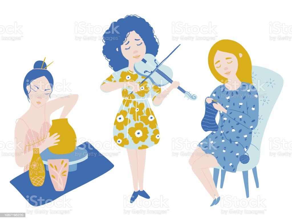 Vector Clipart Femme De Talent Eleve De Poterie Violoniste Tricoteuse Vecteurs Libres De Droits Et Plus D Images Vectorielles De Adulte Istock