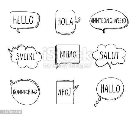Vector Talk Bubbles with Hellos on Different Languages: English, Spanish, Korean, Lithuanian, Chinese, French, Japanese, Czech, German, Isolated on White Background.