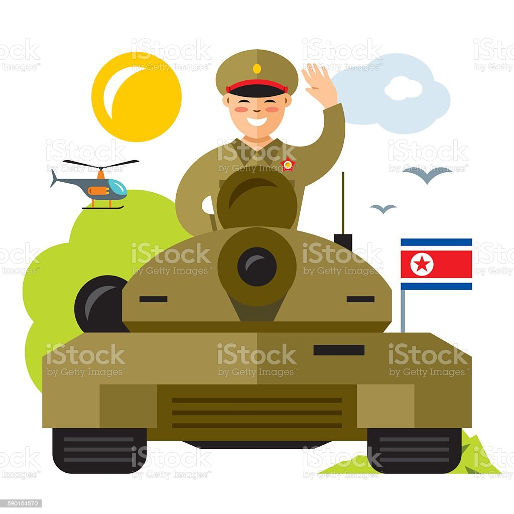 Vector Tankman North Korea. Flat style colorful Cartoon illustration. - ilustração de arte em vetor