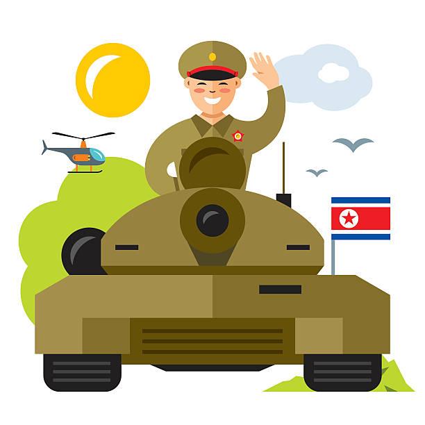 ilustrações, clipart, desenhos animados e ícones de vector tankman north korea. flat style colorful cartoon illustration. - bandeira da coreia
