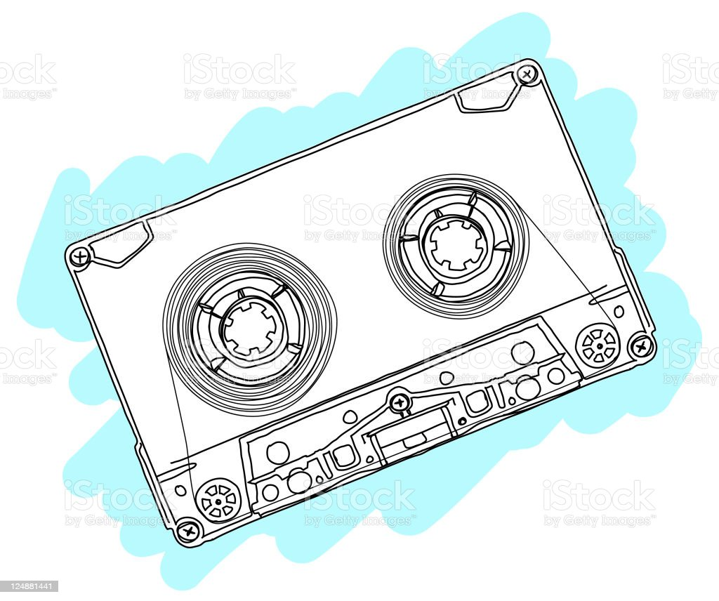 Vector Tape Casette Drawing royalty-free stock vector art