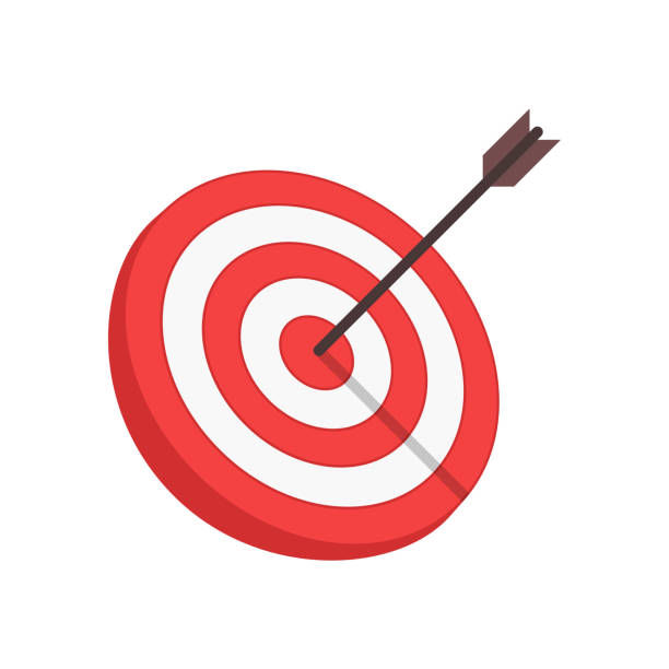 Vector target and arrow. Target with arrow in modern flat style isolated on white background. Goal achieve or Business success concept. Vector illustration. EPS 10. sports target stock illustrations
