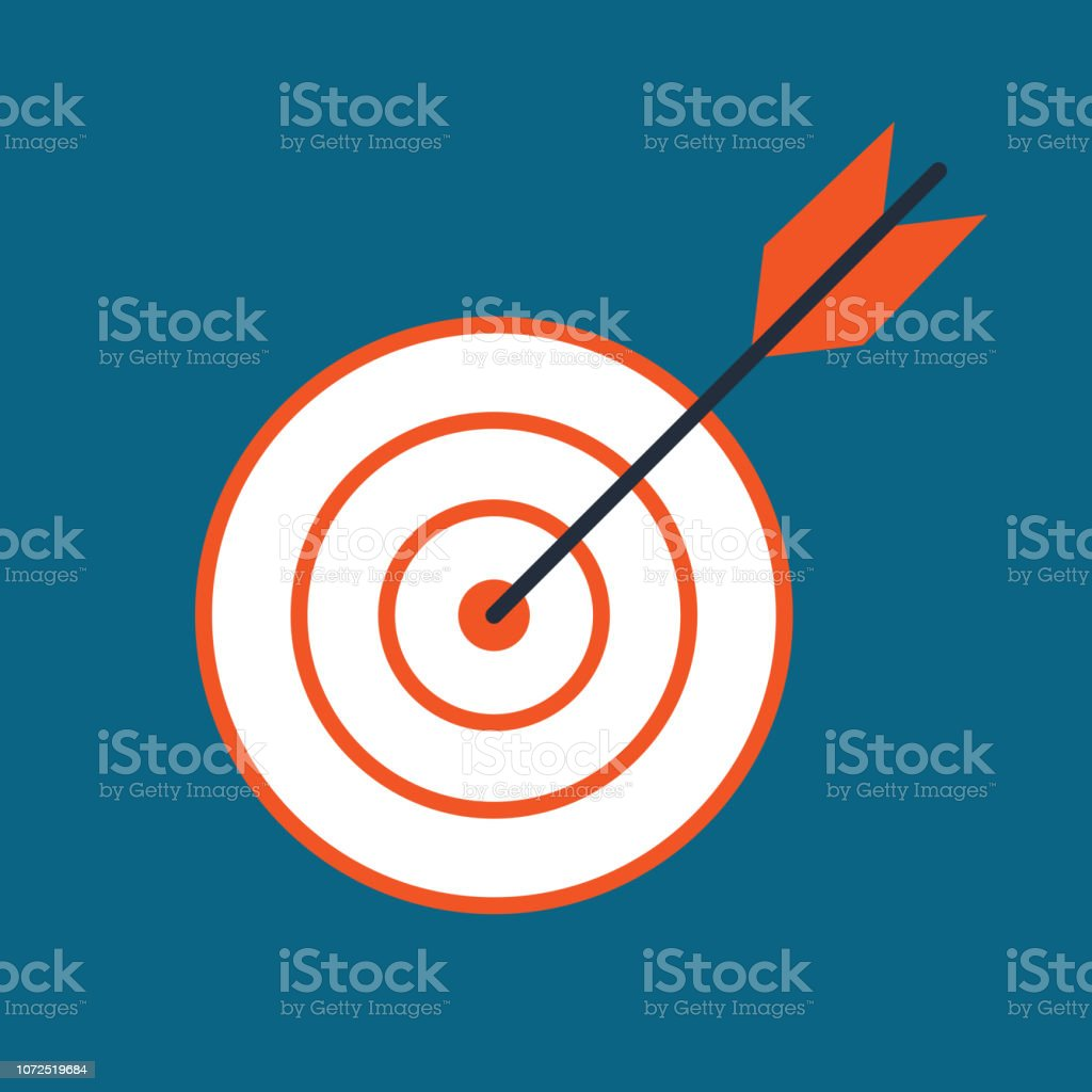 Vector target icon. Flat illustration. Vector colorful target sy vector art illustration