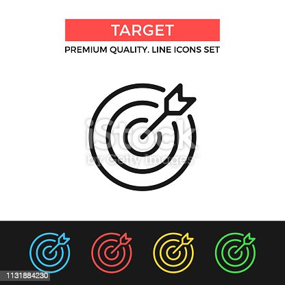Vector target icon. Target and arrow. Premium quality graphic design. Modern signs, outline symbols collection, simple thin line icons set for websites, web design, mobile app, infographics