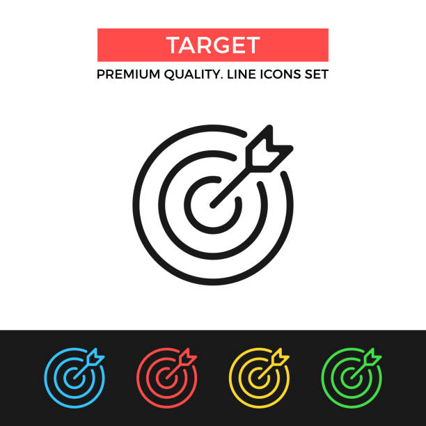 Vector target icon. Target and arrow. Premium quality graphic design. Modern signs, outline symbols collection, simple thin line icons set Vector target icon. Target and arrow. Premium quality graphic design. Modern signs, outline symbols collection, simple thin line icons set for websites, web design, mobile app, infographics accuracy stock illustrations