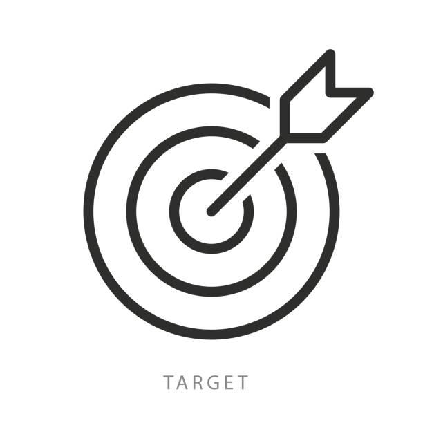 ikona celu wektora. cel i strzałka. najwyższej jakości projekt graficzny. nowoczesne znaki, kolekcja symboli konspektu, proste cienkie ikony linii ustawić ilustrację - aspiracje stock illustrations