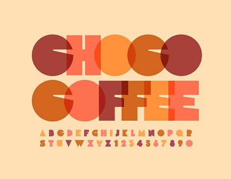 Vector tasty emblem Choco Coffee. Watercolor bright Alphabet Letters and Numbers