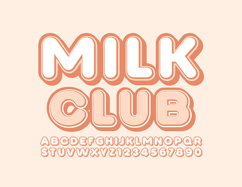 Vector tasty sign Milk Club with Stylish Alphabet Letters and Numbers
