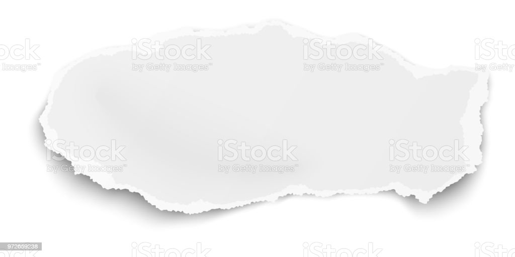 Vector tattered elongated paper tear with soft shadow isolated on white background vector art illustration