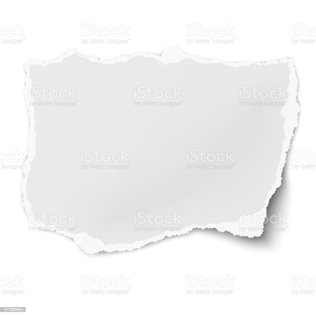 Vector tattered paper tear with soft shadow isolated on white background vector art illustration