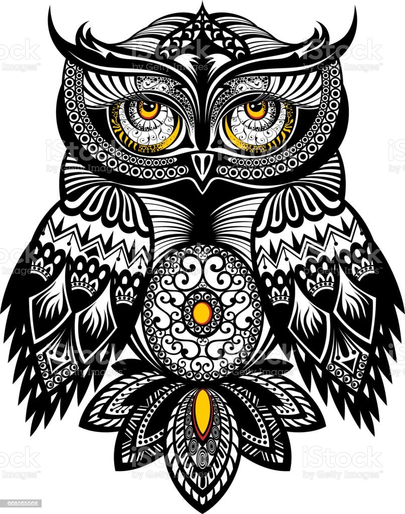 vector tattoo art owl stock vector art more images of abstract rh istockphoto com owl vector art free vector owl family clipart