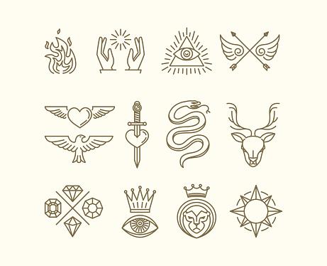 Vector tattoo set