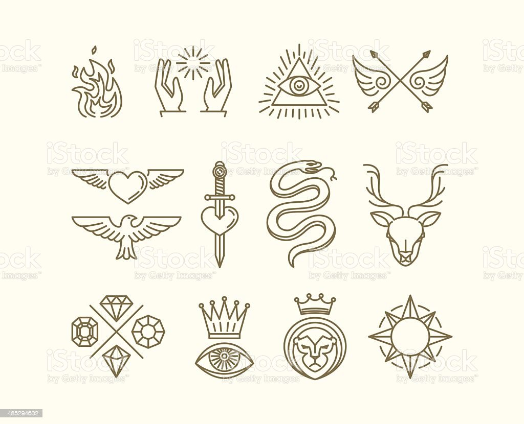 Vector tattoo set vector art illustration