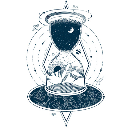 Vector tattoo with an hourglass enclosing the sky and the earth against the background of an infinite universe.