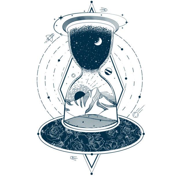 bildbanksillustrationer, clip art samt tecknat material och ikoner med vector tatuering med ett timglas som innesluter himlen och jorden mot bakgrund av ett oändligt universum. - earth from space