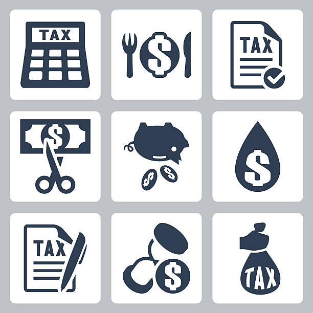 Vector tax icons set Vector tax icons set tax form stock illustrations