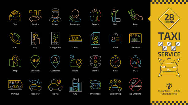 Vector taxi cab car service editable stroke color line icon set on a black background with motor vehicle, driver, passenger, people, fare, call and city traffic thin outline colorful sign. Vector taxi cab car service editable stroke color line icon set on a black background with motor vehicle, driver, passenger, people, fare, call and city traffic thin outline colorful sign. hailing a ride stock illustrations