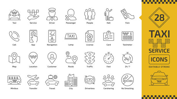 Vector taxi cab car service editable stroke line icon set with motor transport, driver, passenger on travel, people and city traffic thin outline sign. Vector taxi cab car service editable stroke line icon set with motor transport, driver, passenger on travel, people and city traffic thin outline sign. passenger stock illustrations