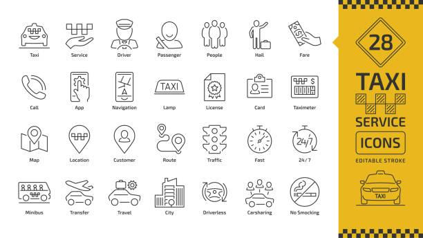 illustrations, cliparts, dessins animés et icônes de icône de ligne vecteur taxi cab voiture service course modifiable sertie de transport motorisé, conducteur, passager sur voyage, gens et ville trafic grandes lignes minces signe. - passager