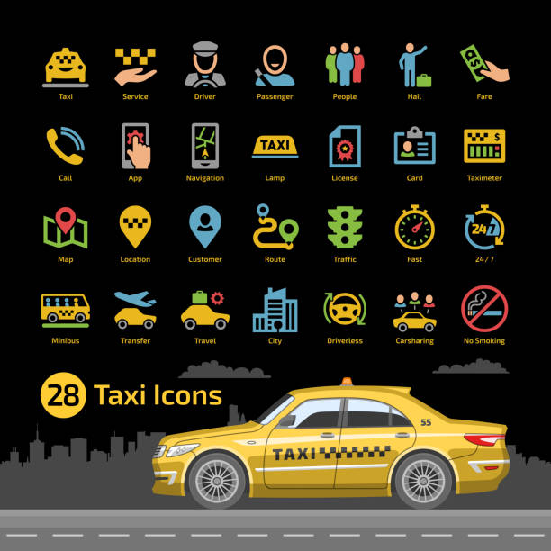 Vector taxi cab car service icon set with yellow sedan mockup on a black background. Motor transport, driver, passenger, map, location, taximeter, license and more flat silhouette sign. Vector taxi cab car service icon set with yellow sedan mockup on a black background. Motor transport, driver, passenger, map, location, taximeter, license and more flat silhouette sign. hailing a ride stock illustrations