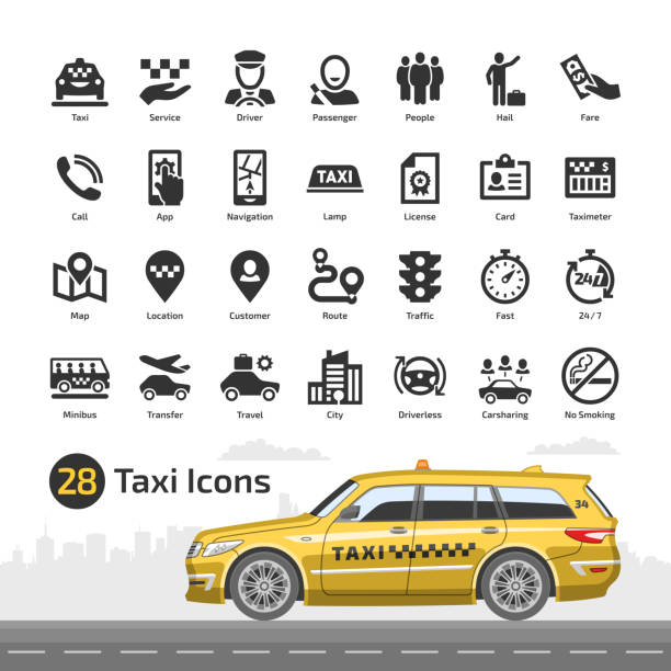 Vector taxi cab car service icon set with yellow station wagon mockup. Motor transport, driver, passenger, navigation, mobile app and city traffic flat silhouette symbol. Vector taxi cab car service icon set with yellow station wagon mockup. Motor transport, driver, passenger, navigation, mobile app and city traffic flat silhouette symbol. hailing a ride stock illustrations