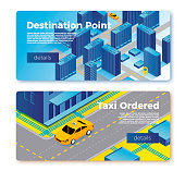 Vector taxi service banner templates concept, cab gps route on city map, car waiting for client. With place for your text