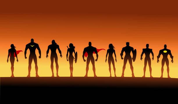 bildbanksillustrationer, clip art samt tecknat material och ikoner med vector team av superhjältar siluett set - superhjälte isolated