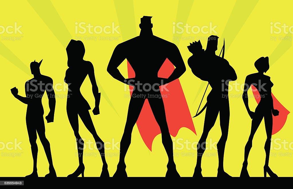 Vector Team Superheroes Silhouette vector art illustration