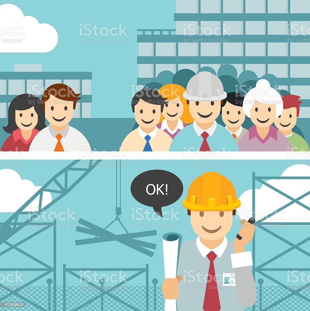 Vektor Teamarbeit und Ingenieur – Vektorgrafik