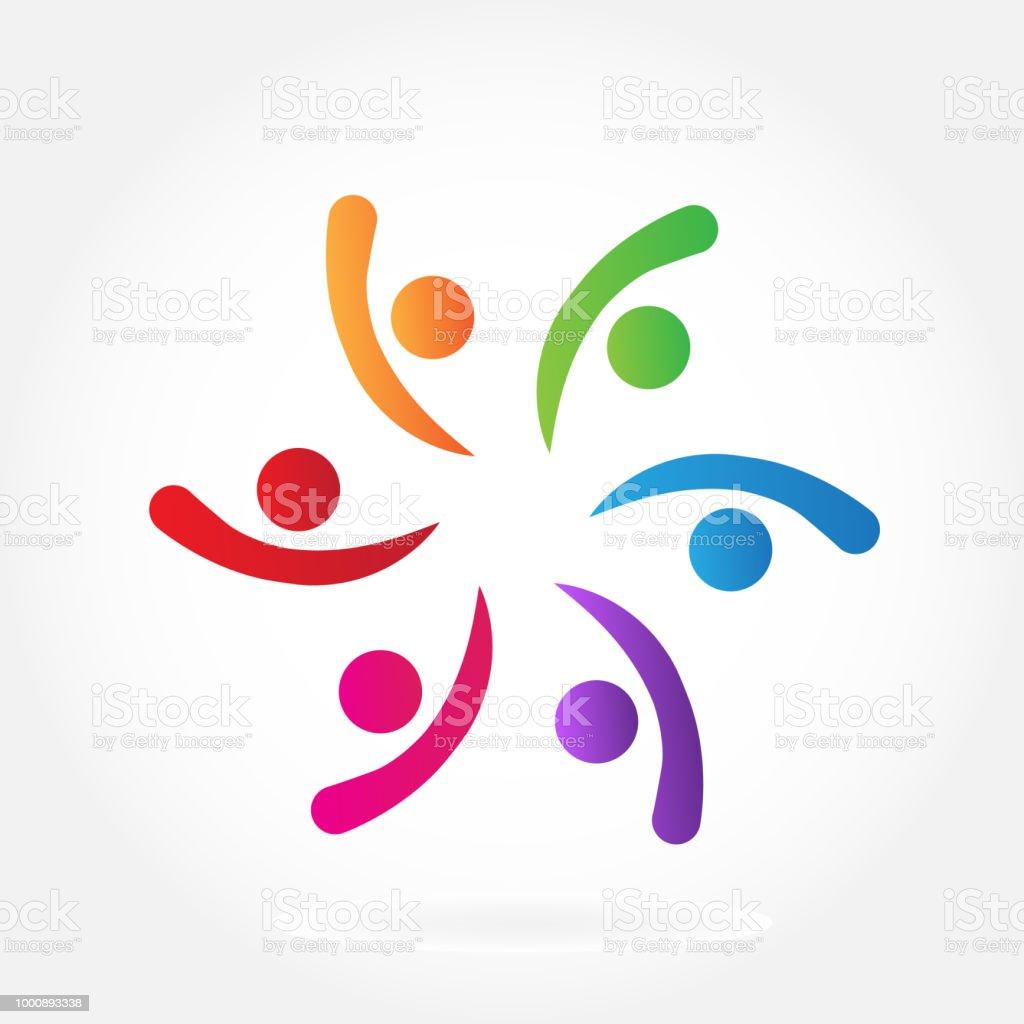 898703e5fe5c Vector teamwork amitié réussie de l unité connectée gens icône id carte de  visite vector
